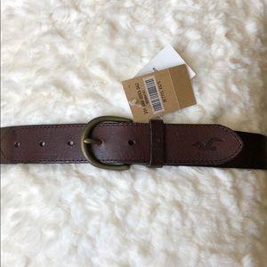 Brown leather Hollister belt XS/S, medium width